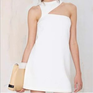 Asymmetrical white cutout cocktail dress